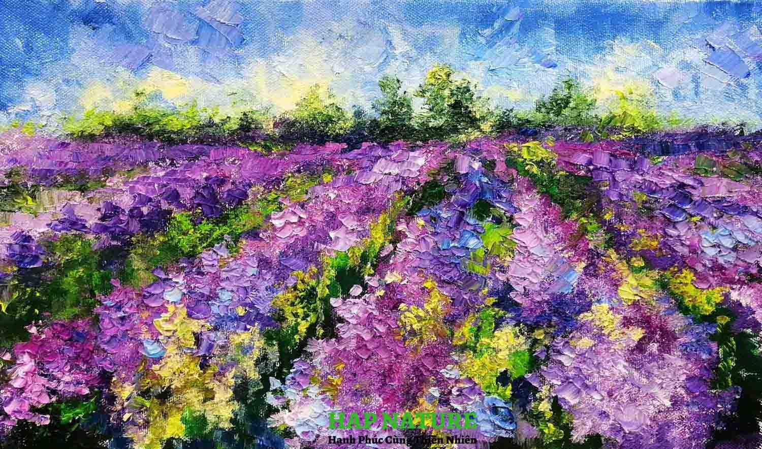 tranh canh dong hoa canh lavender ruc ro sddh17